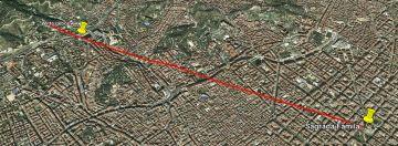 Een lijn in Google Earth tussen Sagrada Familia en het Grote Witte Gebouw op de foto.